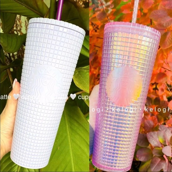 ✨NEW SET✨Starbucks Lilac & Pink Grid Tumblers